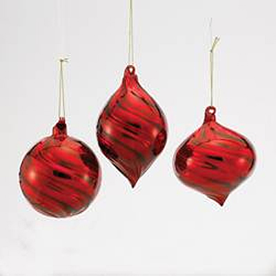 Ornament - Red Glass Onion/Ball/Finial