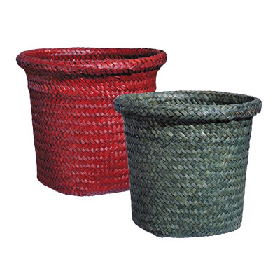 Reed Planter with Liner - Red/Green