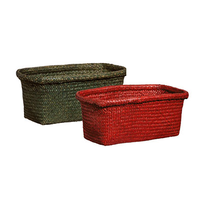 Reed Window Box with Liner - Red/Green