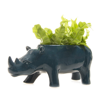 Rhino Planter - Green Blue