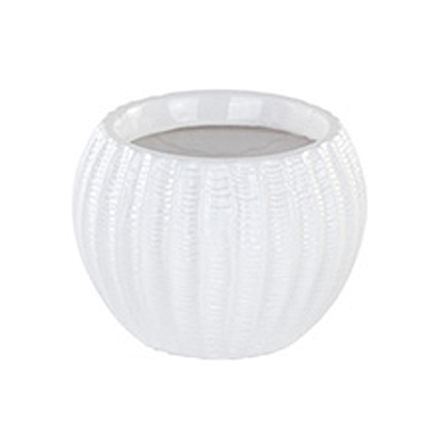 Ribbed Ball Planter - White