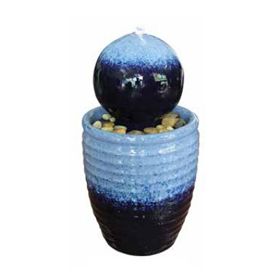 Fountain - Ripple Egg Pot with Ball (Cascade Blue)