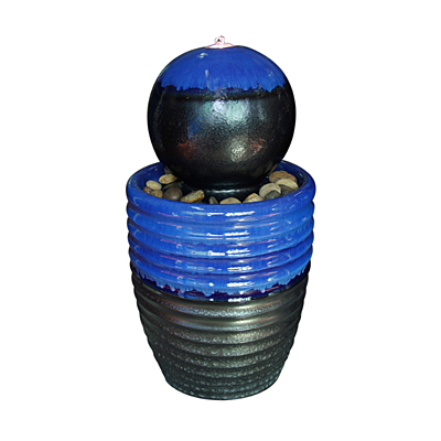 Fountain - Ripple Egg Pot with Ball (Cobalt & Graphite)