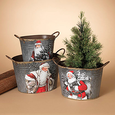 Bucket - Metal Santa Design