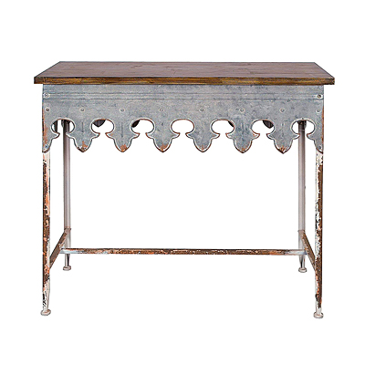 Table - Metal Scalloped Edge with Wood Top, Zinc Finish