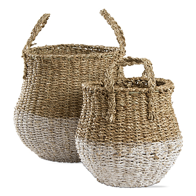 Two Tone Tall Seagrass Basket