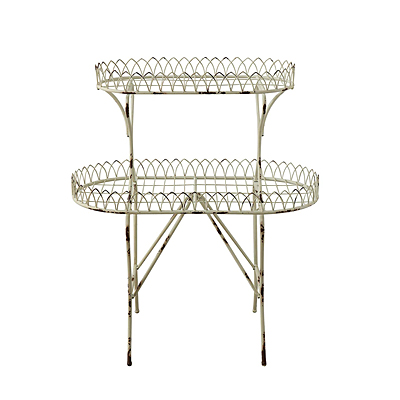 Plant Stand - Distressed Cream