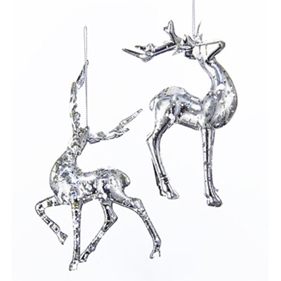 Ornament - Plastic Silver Deer