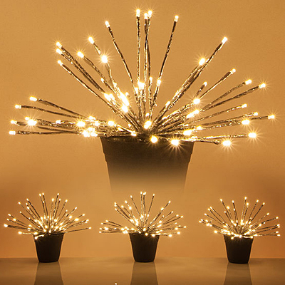 Starburst Lighted Branches Silver/ WW  Set of 3