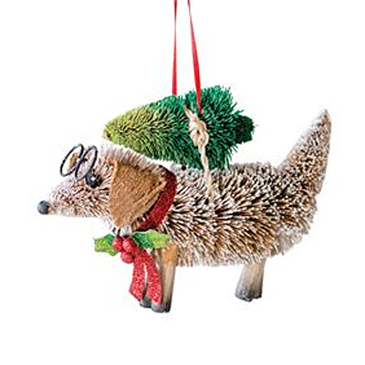 Ornament - Sisal Dog with Christmas Tree
