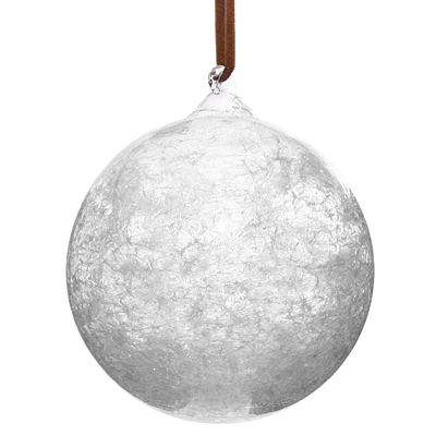 Glass Ball with Glass Snow Inside Leather Hanger