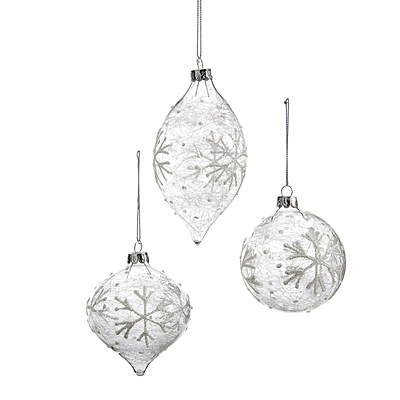 Ornament - Clear Glass with Snowflakes