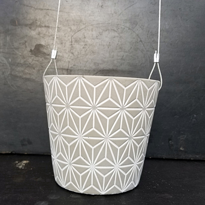 Cement Hanging Pot - Sonoran White Washed