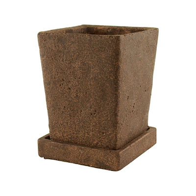 Tapered Cement Square Vase with Tray - Brown