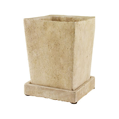 Tapered Cement Square Vase with Tray - Slate
