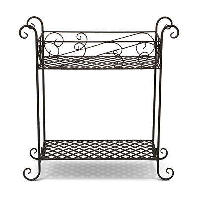 Plant Stand 2 Shelves Black