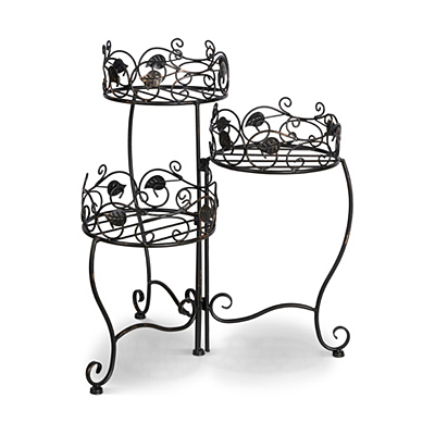 Plant Stand 3 Tier Folding Black