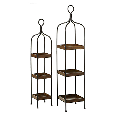 Shelf - 3 Tiered Square Wood/Metal