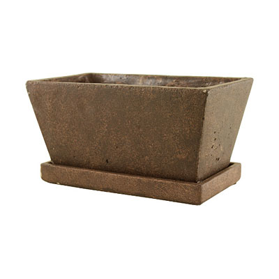Tapered Square Planter with Tray - Brown