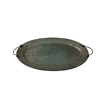 Tray - Antique Zinc Oval with Ear Handles