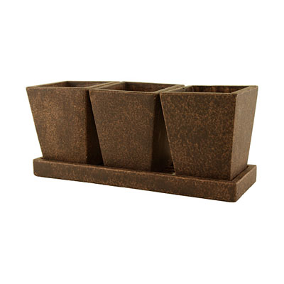 Trio Cement Garden Planter with Tray - Brown