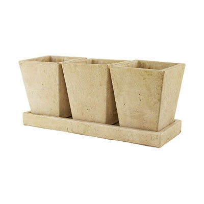 Trio Cement Garden Planter with Tray - Slate