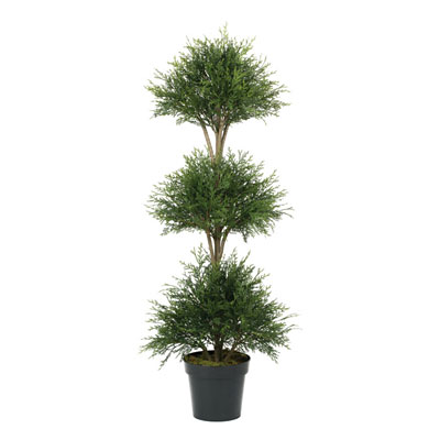 Pine Cedar/Ball Triple Topiary