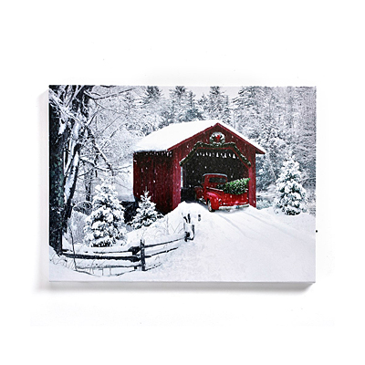 Wall Decor - LED Canvas Red Truck with Timer