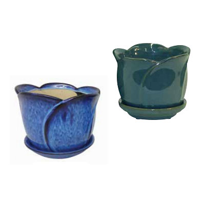 Tulip Pot with Attached Saucer - Green/Blue