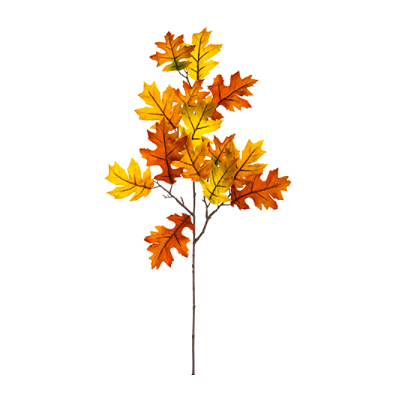 Velvet Oak Leaf Spray - Orange Flame