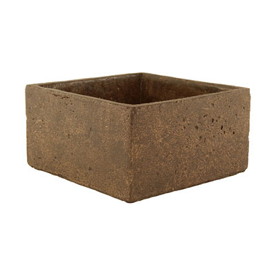 Square Cement Pot - Weathered Brown