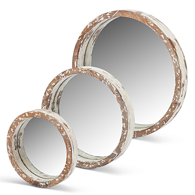 Mirror - Wood Round White
