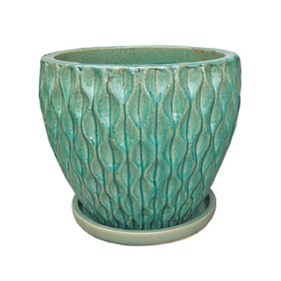 Wilson Planter with Attached Saucer - Crackle Blue