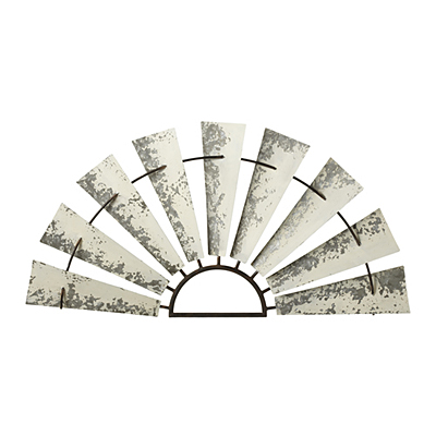 Wall Decor - Windmill Distressed White Galvanized Half