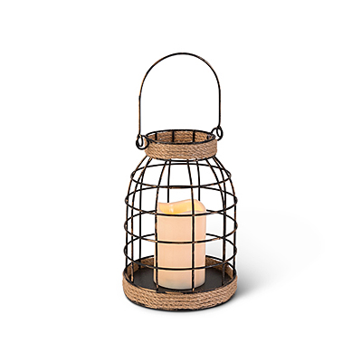 Wire Lantern with Rope Accent