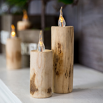 Candle - Wood Faux Battery Operated