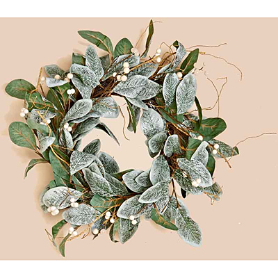 Wreath - Magnolia Leaves with White Berry