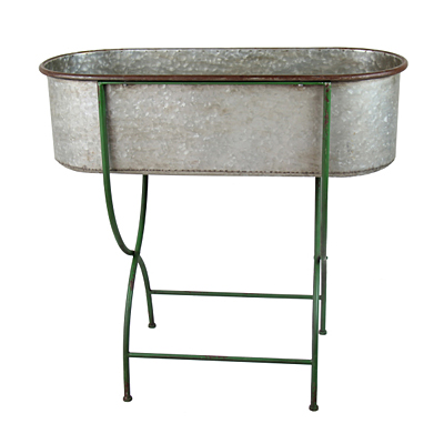 Antique Zinc Tub Planter on Retro Green Stand